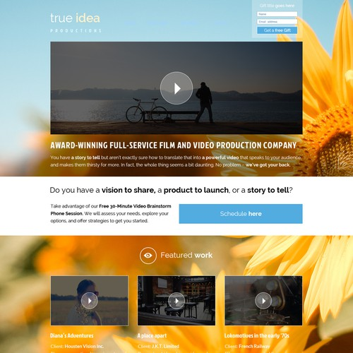 Create a gorgeous website for an *award-winning* video production company