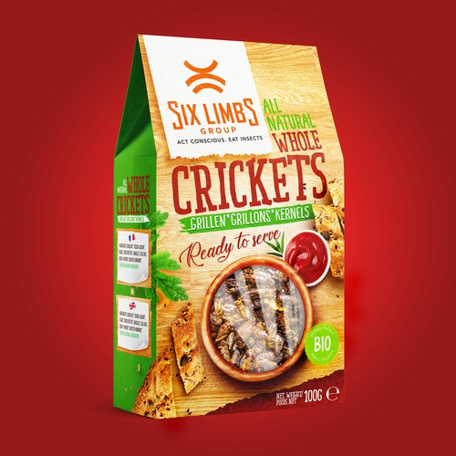 Packaging design for Grilled Crickets