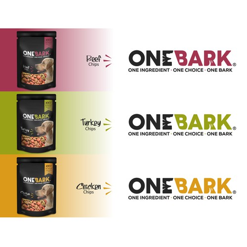 Bold logo for OneBark dog food company.