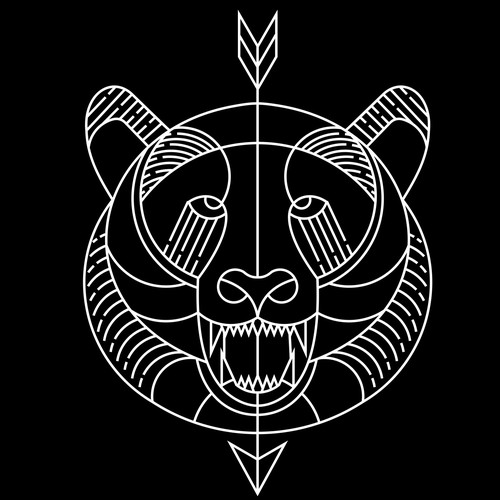 Bear line art tattoo