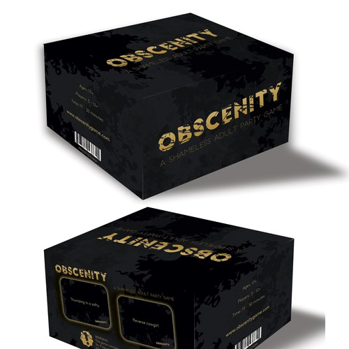 Package and card design for Obscenity adult card game.