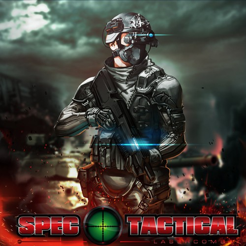 create an awesome military/tactical soldier illustration using our gun and logo in the design
