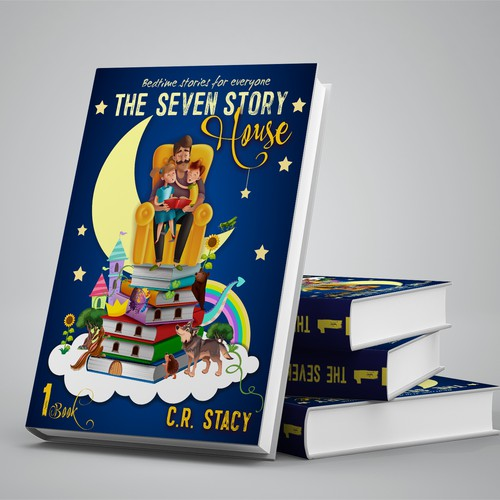 """Storybook cover design for """"The Seven Story House"""". Bedtime stories for everyone!"""