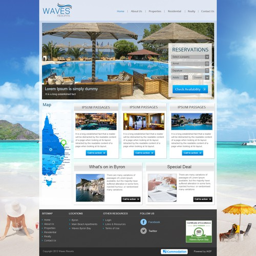 Create the next website design for 3 x Holiday Resorts in Byron Bay