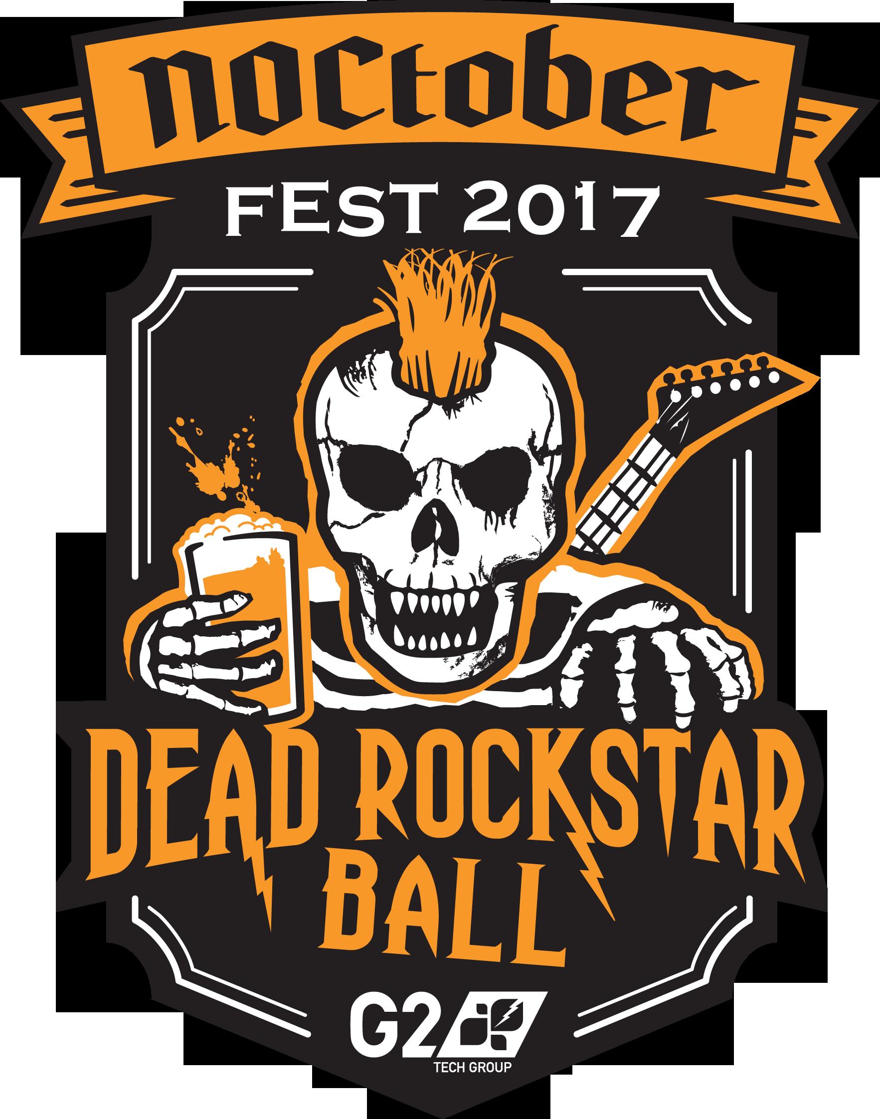 """Dead Rockstar Ball"" Pint glass for fun tech company"