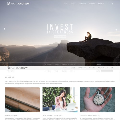 Web design concept for Mark Andrew investment