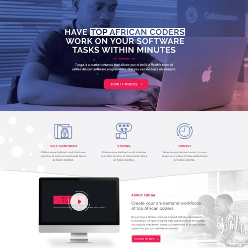 Landing page for software company