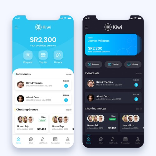Social payment app, group e-wallet, group payments, chatting, sending & requesting money.