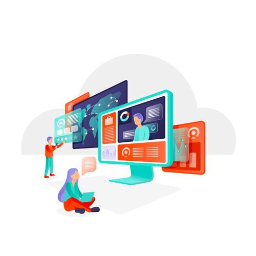 Design fresh and unique illustrations for a Collaborative Recruitment Application
