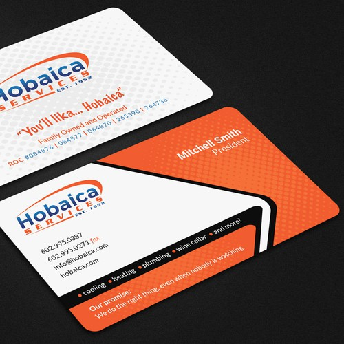 Design a modern business card for Hobaica Services using our new logo and tag line