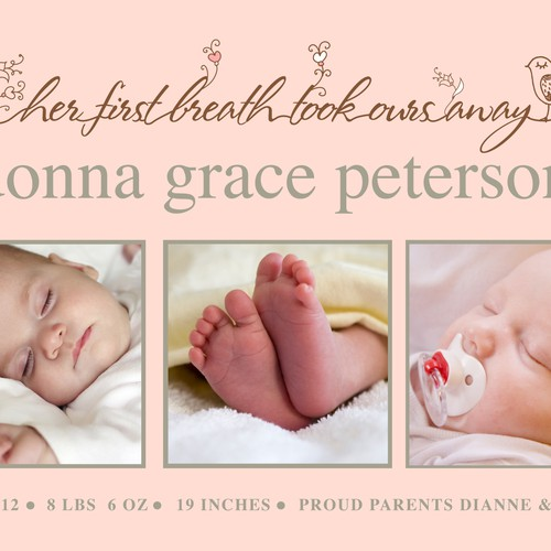 "Picaboo 5"" x 7"" Flat Baby Girl Birth Announcements (will award up to 35 designs!)"