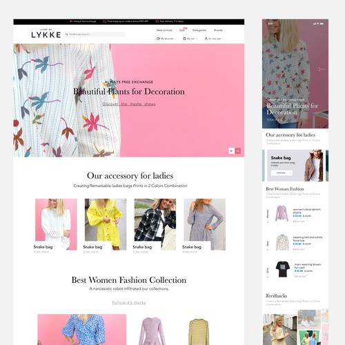 Fashion Website layout