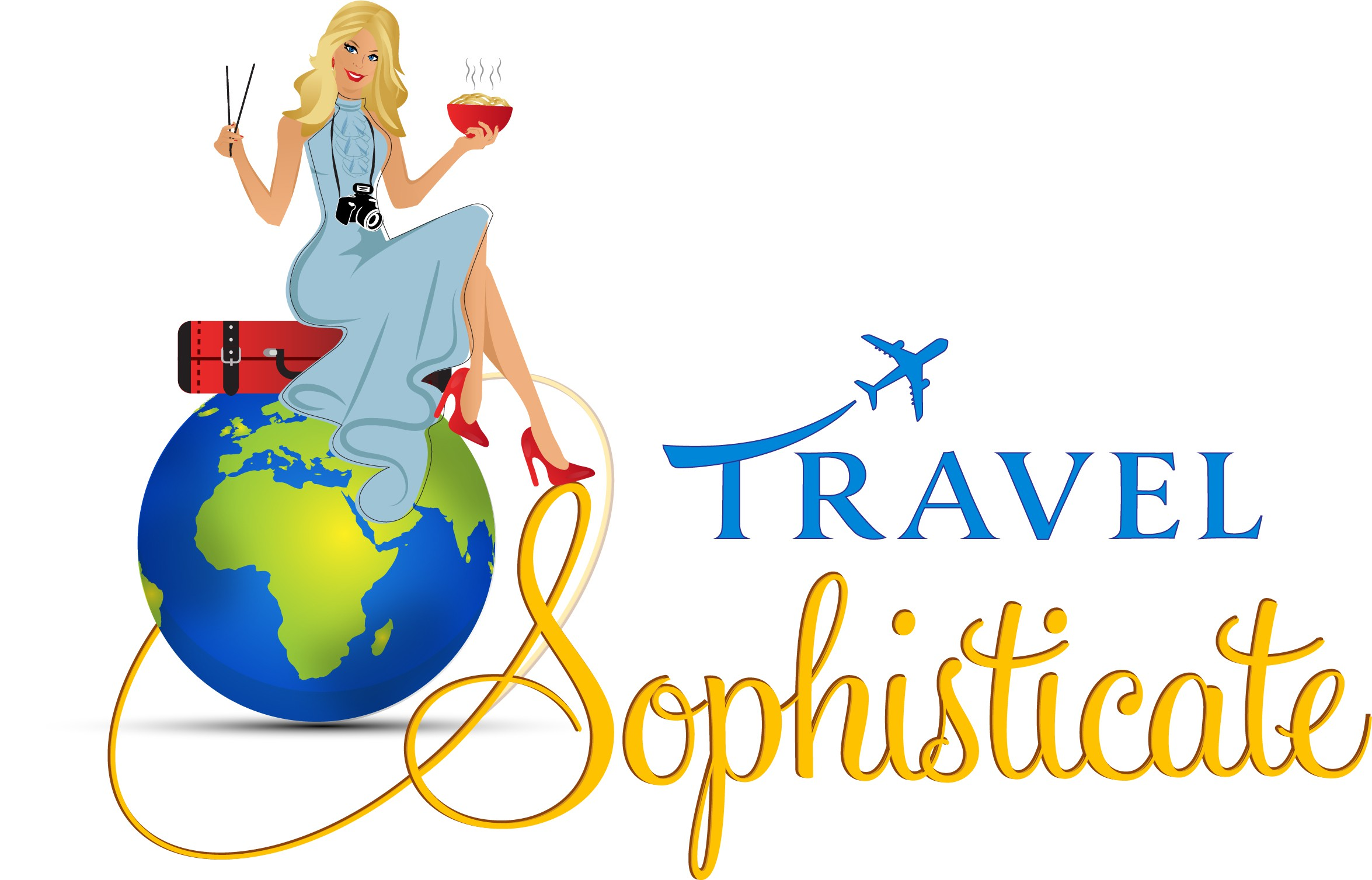 An amazing logo for a travel blog conveying sophistication and playfulness at the same time.