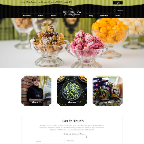Create a captivating new website for KuKuRuZa Gourmet Popcorn