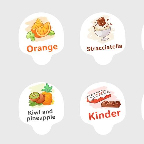 Ice cream flavors labels