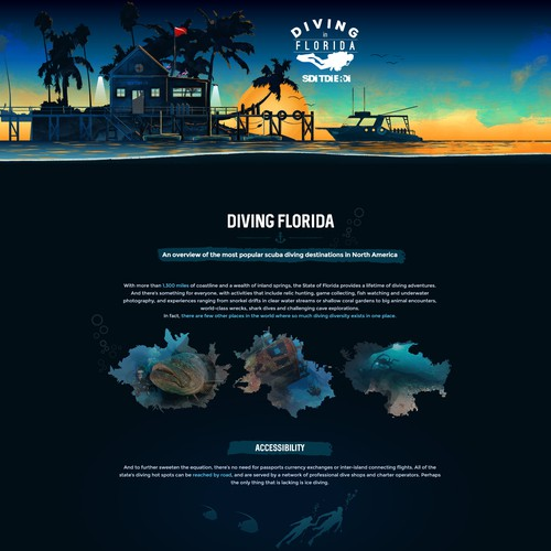 Landing page for scuba diving training agency