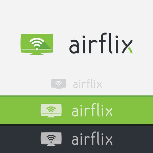 Create a logo for Airflix a video streaming application (TV, device, desktop)