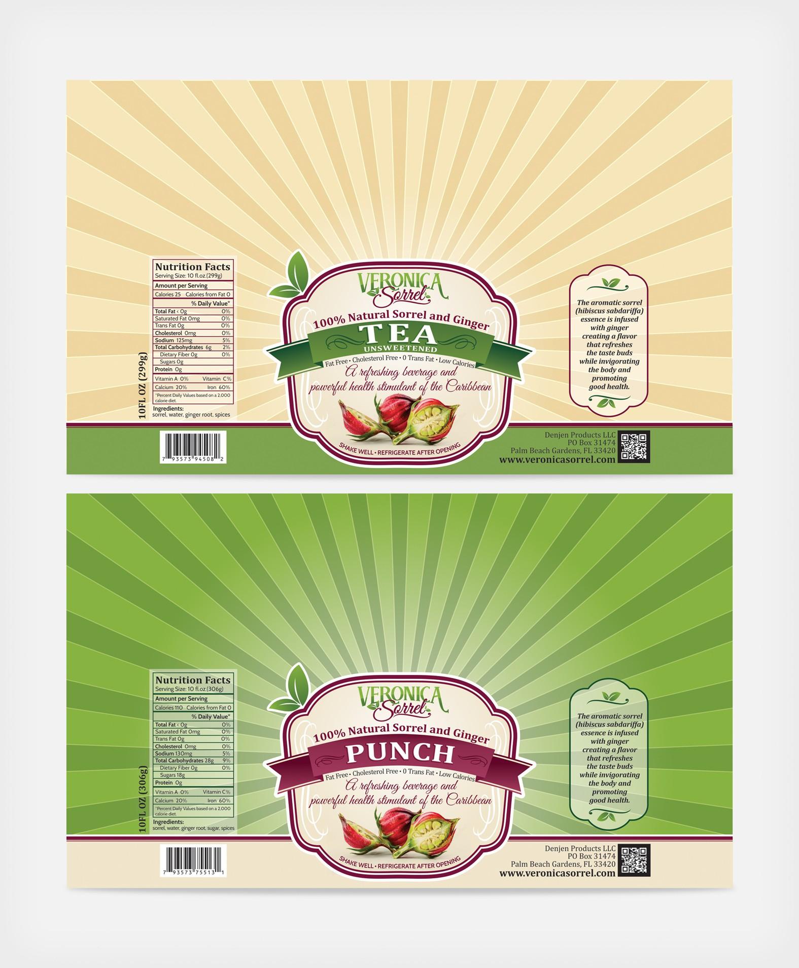 Label design for a natural specialty drink - Veronica Sorrel Punch.