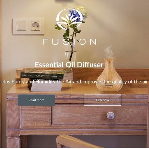 Website concept for essential oil diffuser