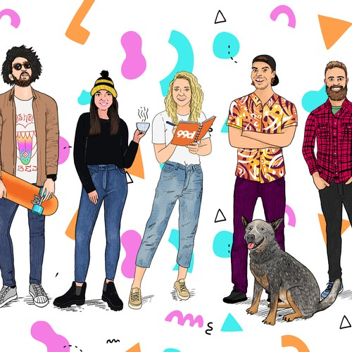 Portrait Illustration for 99designs team!