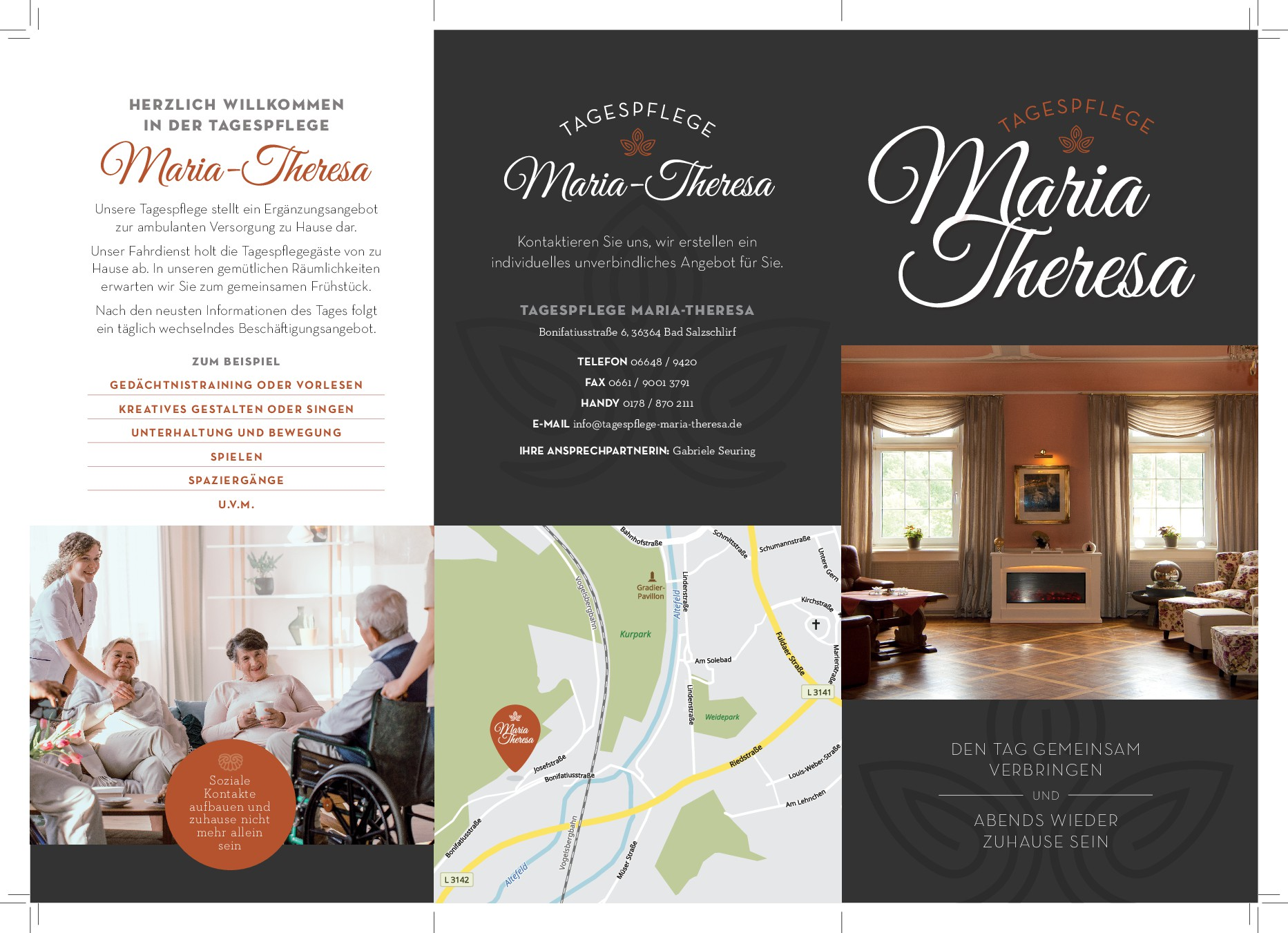 Warm and inviting tri-fold brochure for adult day care
