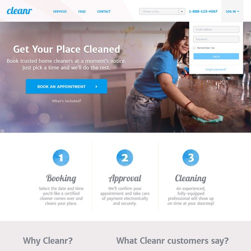 Landing page design for a cleaning company