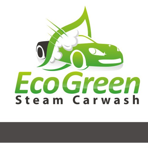 Logo for a steam-powered carwash business
