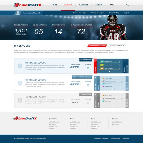LiveDraftX Website design