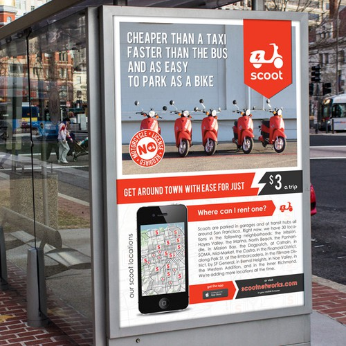 Scooter sharing company seeks Bus Shelter Ad - High Visibility foryour Design!