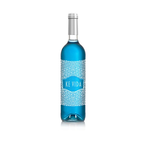 Blue wine label