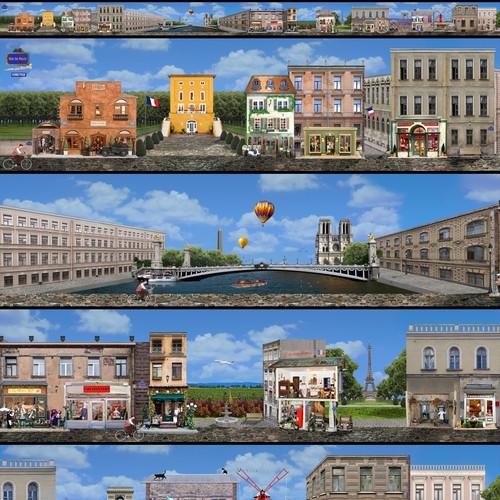 Create a fantasy Parisian street scene to showcase French miniature buildings