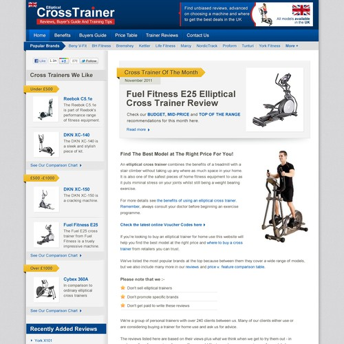 Create the next website design for Elliptical Cross Trainer Reviews