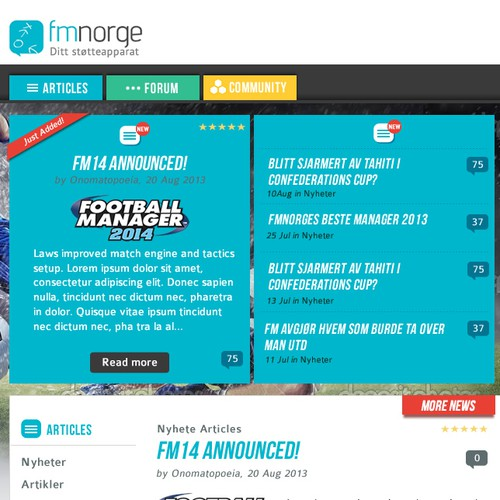 Homepage design for Football Manager Fansite