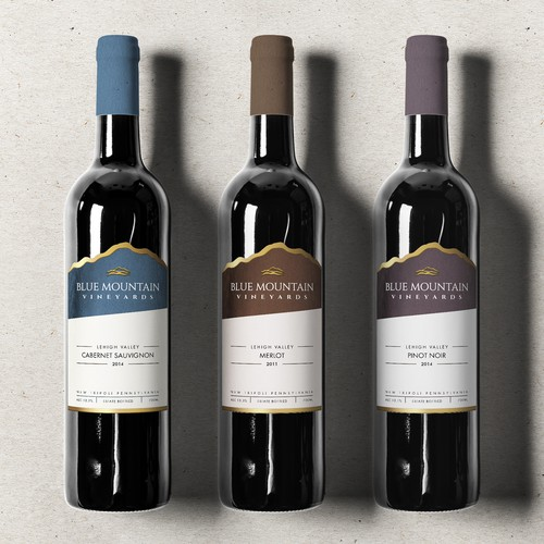 Redesign of wine label Blue Mountain