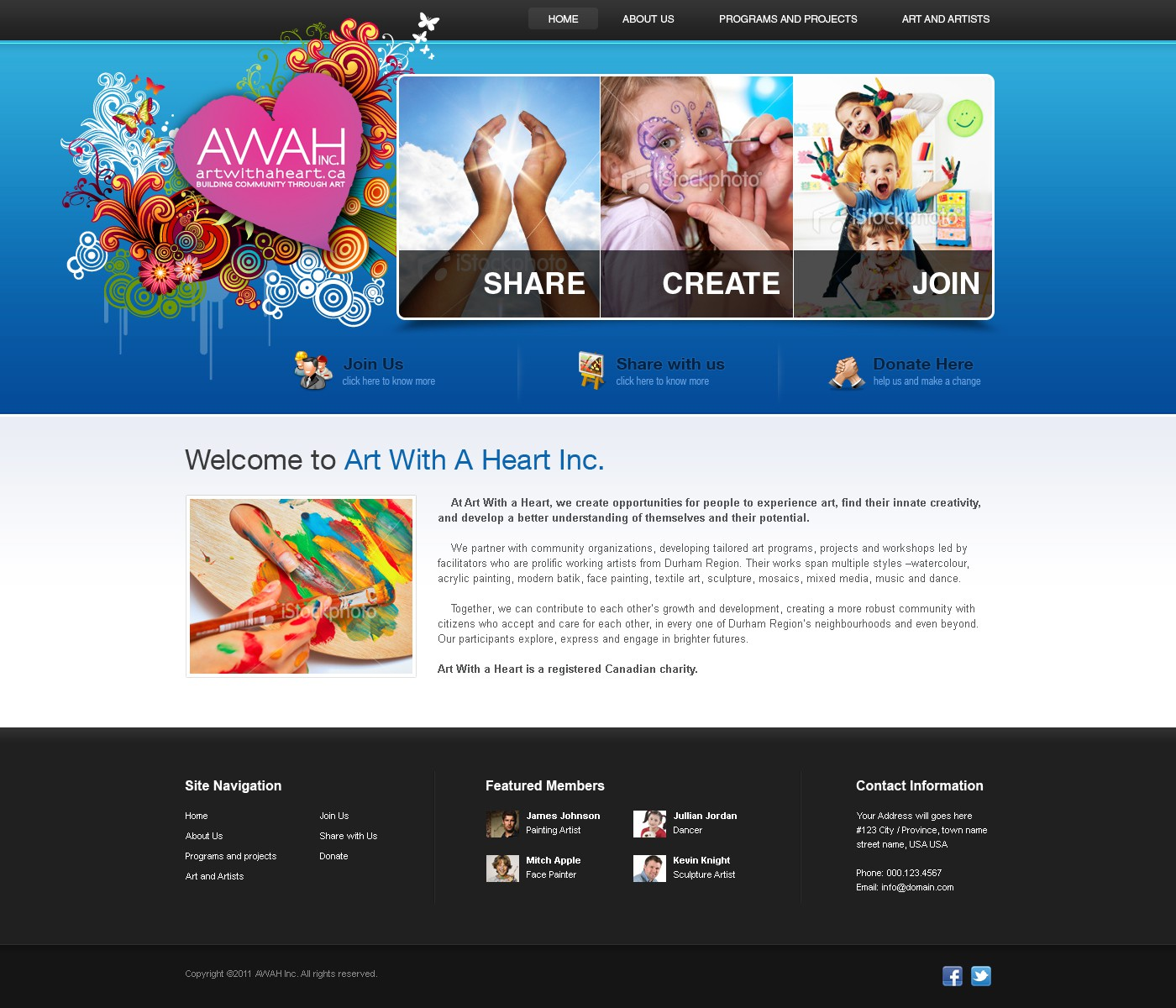 website design for Art With a Heart Inc.