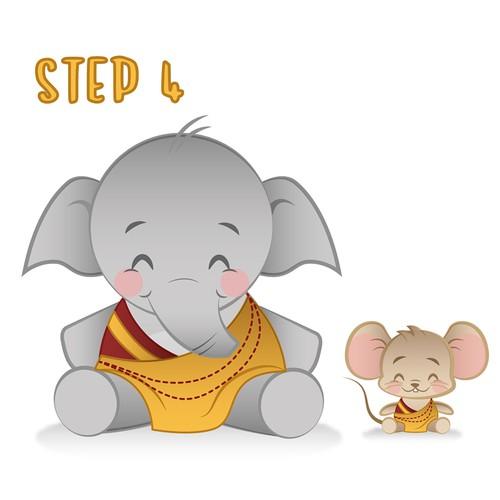 Mouse & Elephant for meditation app
