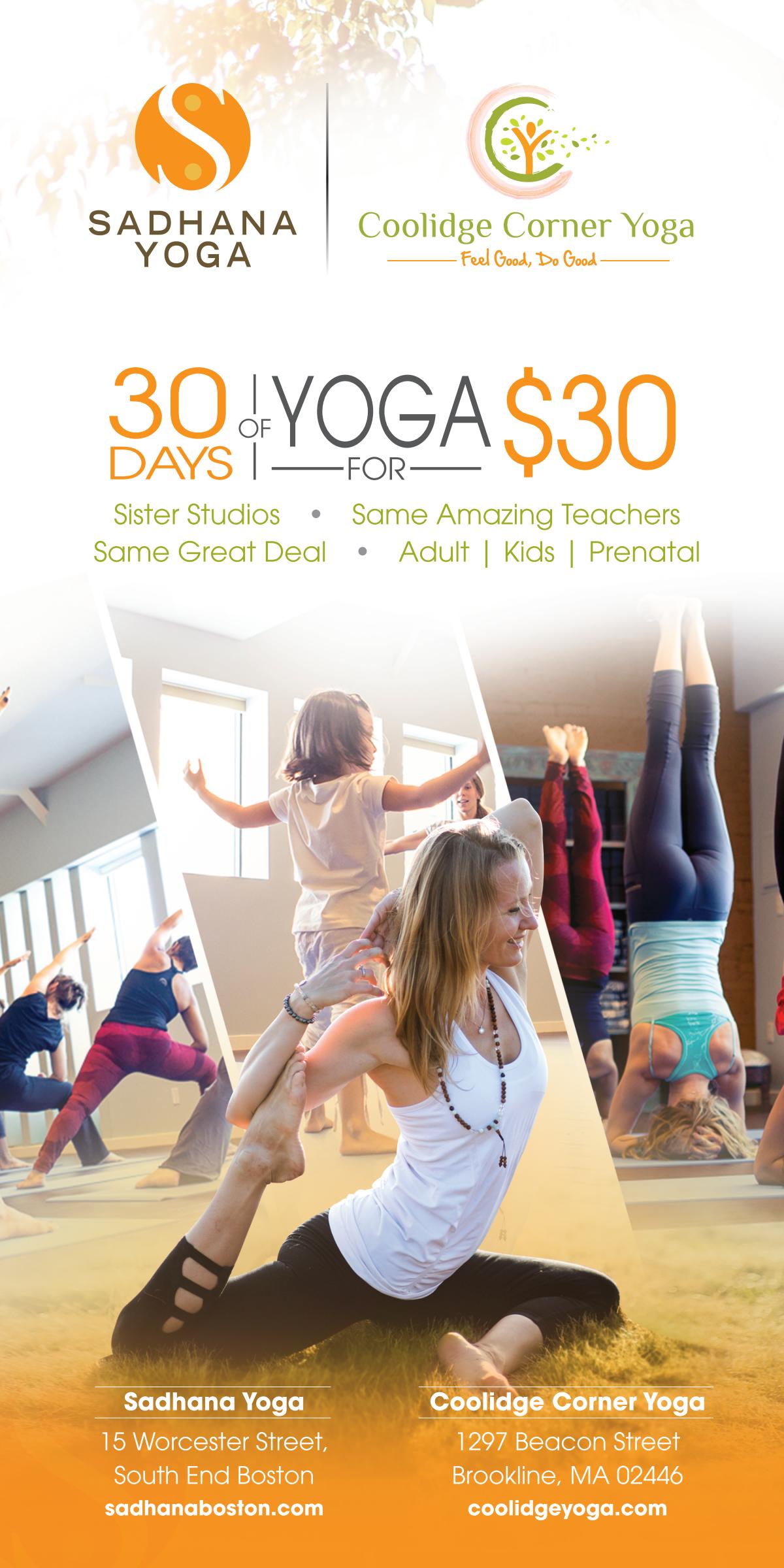 Sadhana and Coolidge Corner Yoga Magazine Ad
