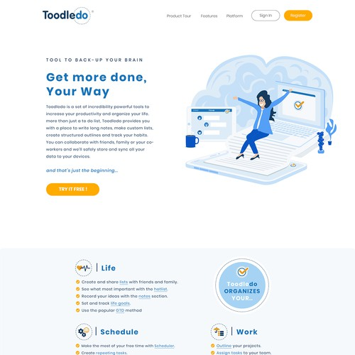 Startup app web design for Toodledo