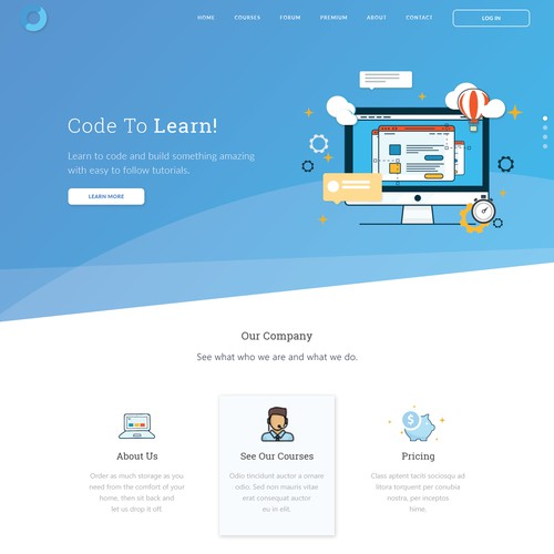 Homepage design for a development courses website