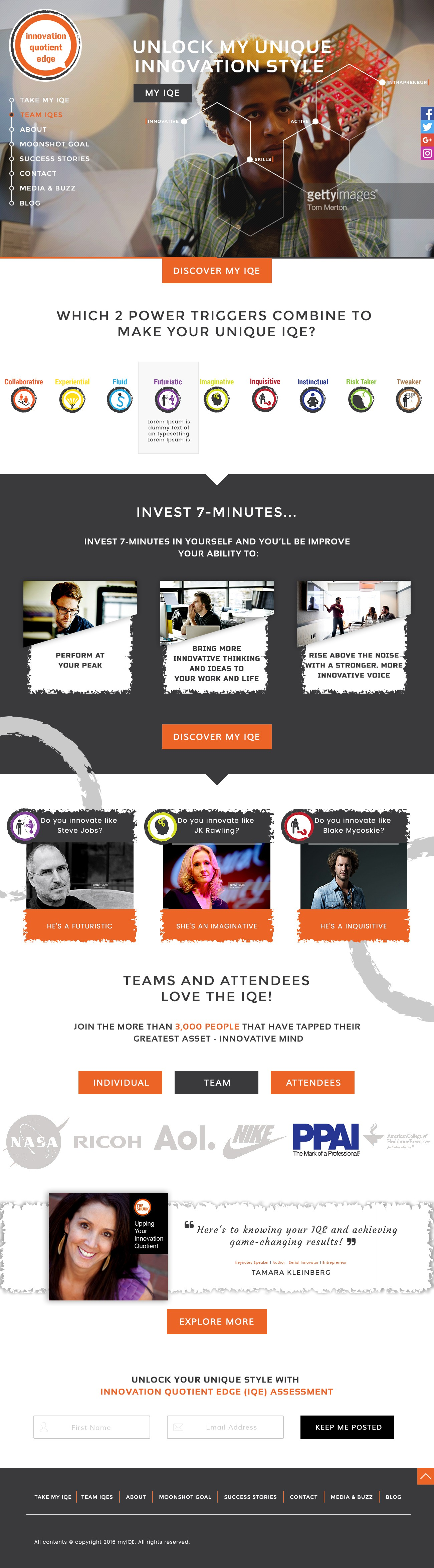 DESIGN WEB HOME PAGE FOR ON-LINE INNOVATION PERSONALITY ASSESSMENT TOOL