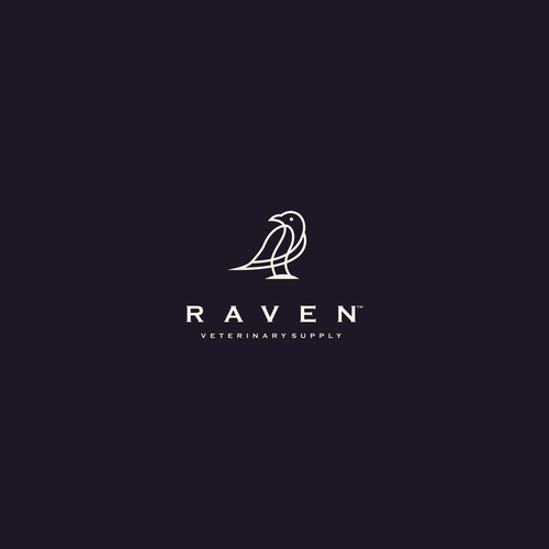 Modern, simple and easy memorable lineart Raven.