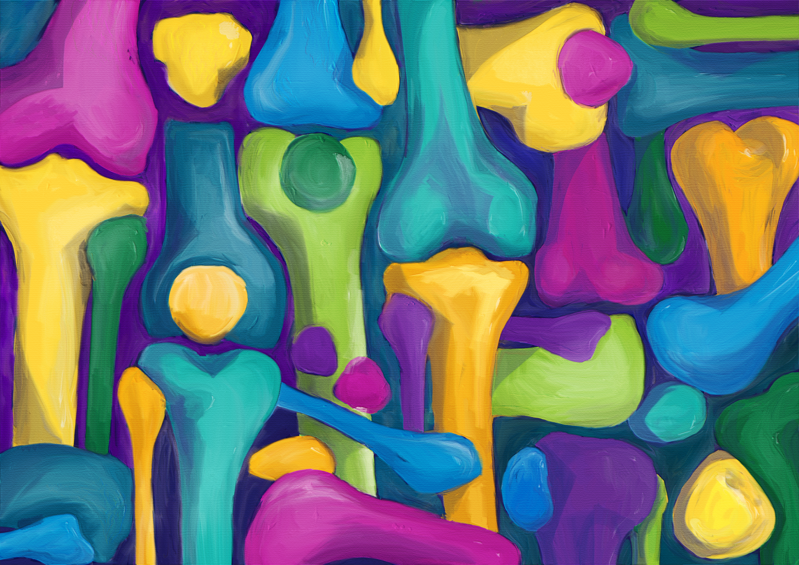 Abstract and colorfull illustration of the human knee (joint)