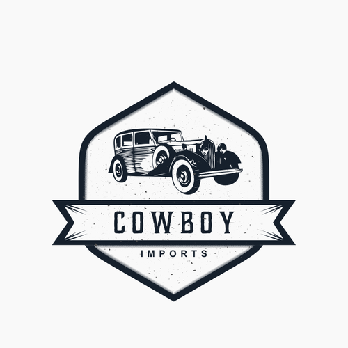 "Create a ""Cowboy Imports"" logo that conveys vintage classic cars & motorcycles"