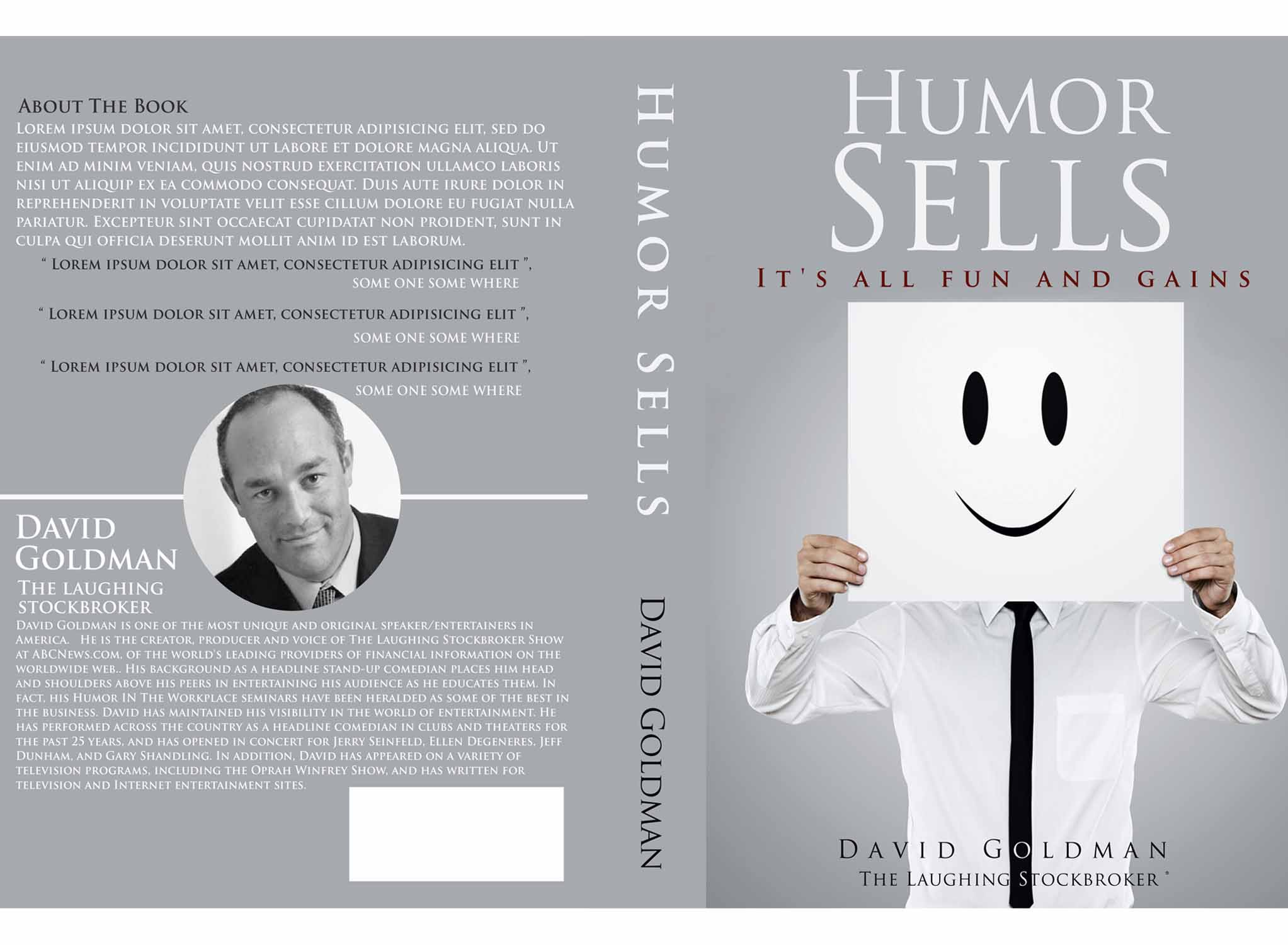 Fun book cover design for award winning speaker and comedian