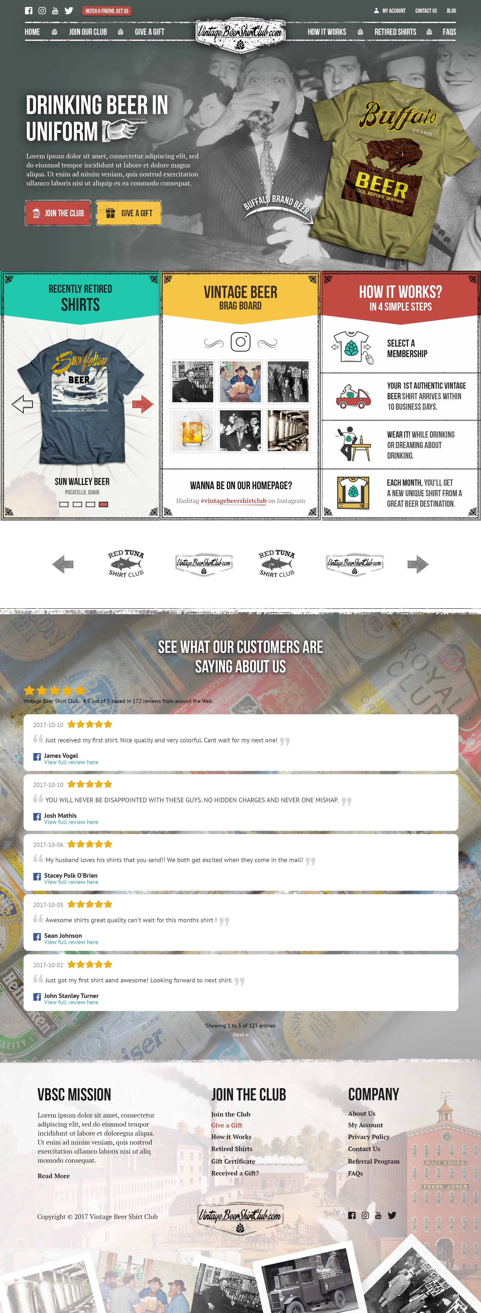 New Website Design for Vintage Beer Shirt Club - VERY specific direction and lots of feedback
