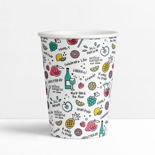 Fun sangria drinking cup design