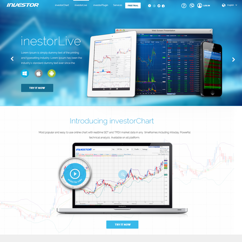 Design webpage for a financial/stock/trader/investor software website.