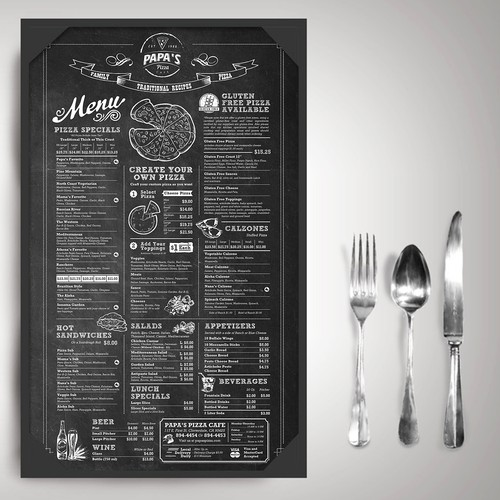 Papa's Pizza Vintage Menu Design
