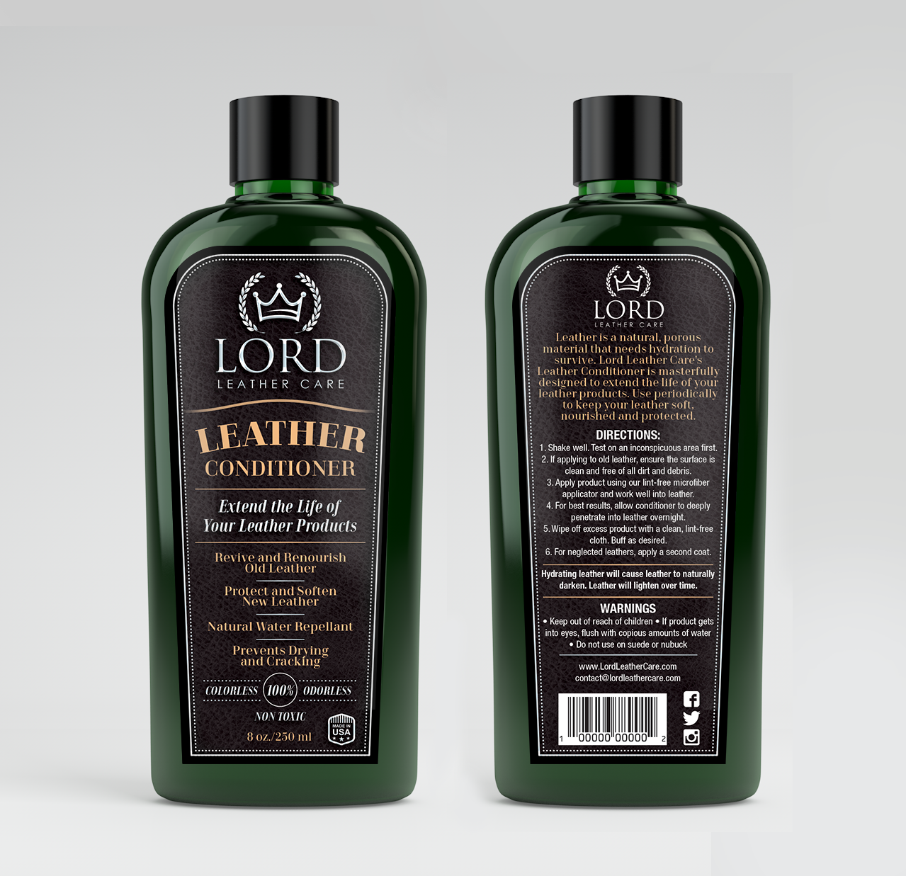 Create a modern and luxurious label for our Leather Conditioner - all details included!