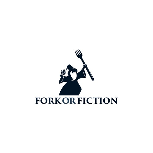 logo concept for fork or fiction